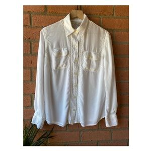 Lucky Brand Boho Embroidered Buttonup Blouse